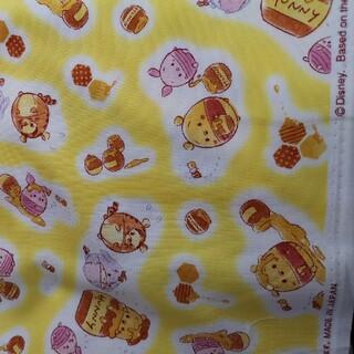 クマノプーサン(くまのプーさん)のクマのプーさん HUNNY柄 黄色 55×25  オックス 生地 ウフフィ(生地/糸)