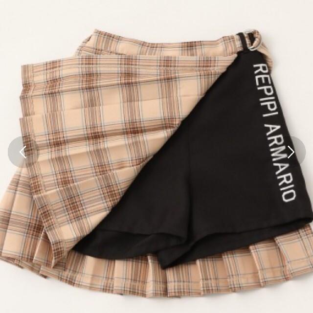 repipi armario(レピピアルマリオ)の《新品・未使用》repipi armarioサイドロゴカサネプリーツスカート キッズ/ベビー/マタニティのキッズ服女の子用(90cm~)(スカート)の商品写真
