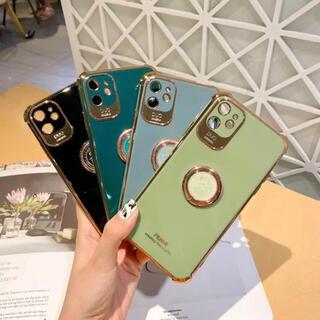 最新人気型 iPhone12ケース TPU バンカーリング付き グレー(iPhoneケース)