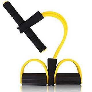 イエローRIXOW トレーニングチューブ ペダルプラー ゴム管4本付 腹筋エクサ(ヨガ)