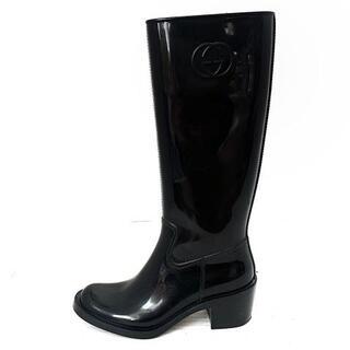 グッチ(Gucci)のグッチ レインブーツ 37 レディース - 黒(レインブーツ/長靴)