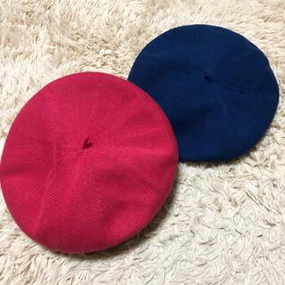 ジーユー(GU)のベレー帽*ピンク*ネイビー(ハンチング/ベレー帽)