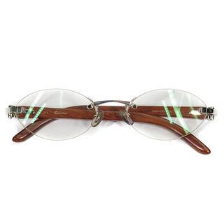 カルティエ(Cartier)のカルティエ  メガネ  ツーポイント ウッドテンプル □19   ブラウ(サングラス/メガネ)