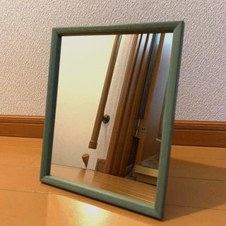 木製ミラー 吊立兼用★グリーン 新品(壁掛けミラー)