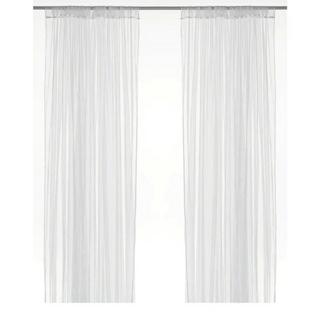 イケア(IKEA)のIKEA大人気ネットレースカーテン1組リルLILLホワイト280x250cm(レースカーテン)