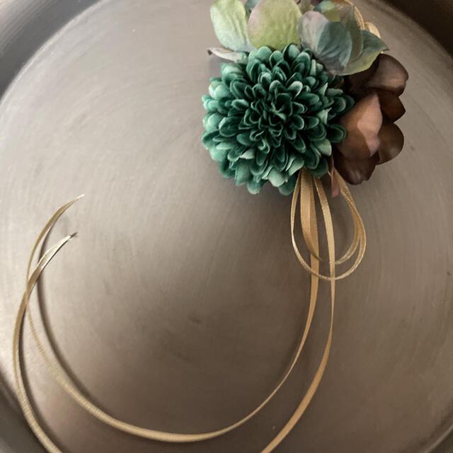 toytoy645 小さめコサージュ 【wグリーン】卒業式 入学 結婚式 ハンドメイドのアクセサリー(コサージュ/ブローチ)の商品写真
