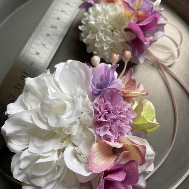 toytoy646 大小親子コサージュ セット 【ホワイト】卒業式 入学 結婚式 ハンドメイドのアクセサリー(コサージュ/ブローチ)の商品写真