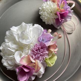 toytoy646 大小親子コサージュ セット 【ホワイト】卒業式 入学 結婚式(コサージュ/ブローチ)
