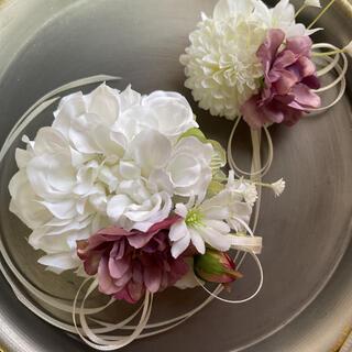 toytoy640 大小親子コサージュ セット 【ホワイト】卒業式 入学 結婚式(コサージュ/ブローチ)