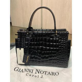ノーブル(Noble)の【GIANNI NOTARO】クロコ型押し バッグ(ブラック)新品未使用品(ハンドバッグ)