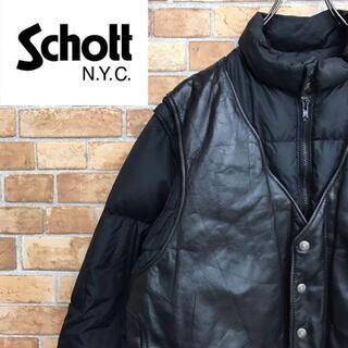 ショット(schott)の【ショット】ダウンジャケット レザー 2way ベスト ブラック 古着男子(ダウンジャケット)