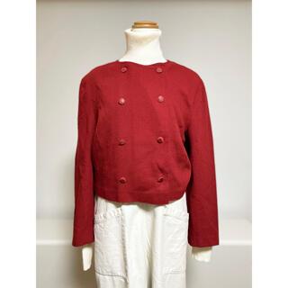 アメリヴィンテージ(Ameri VINTAGE)のUSED♡ Vintage古着 ノーカラー ナポレオン風 ジャケット 赤(ノーカラージャケット)