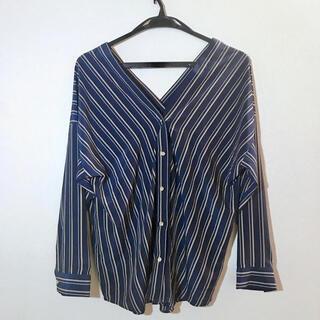 ラウンジドレス(Loungedress)のラウンジドレス バイヤスブラウス ネイビー フリーサイズ(シャツ/ブラウス(長袖/七分))