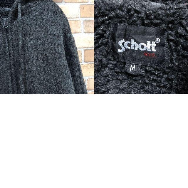 schott(ショット)の【ショット】肉厚はニット パーカー フリース チャコールグレー ジッパー メンズのトップス(ニット/セーター)の商品写真