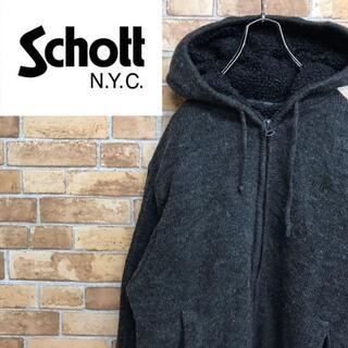 ショット(schott)の【ショット】肉厚はニット パーカー フリース チャコールグレー ジッパー(ニット/セーター)
