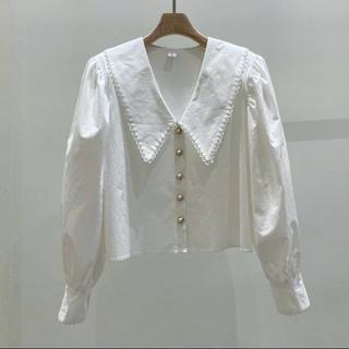 ザラ(ZARA)の韓国ファッション ビッグカラー フリルブラウス (シャツ/ブラウス(長袖/七分))