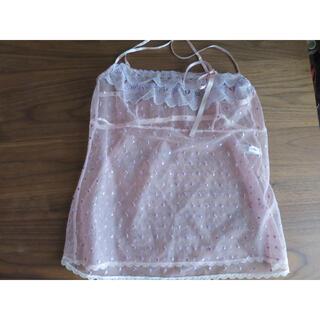 アンフィ(AMPHI)のワコール AMPHI アンフィのピンク色リボン付きキャミソール(ルームウェア)