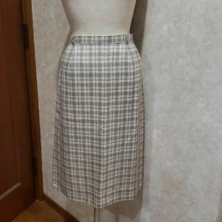 レリアン(leilian)のレリアン❤リネン混春ツイードタイトスカート《13号》バックスリット入り(ひざ丈スカート)