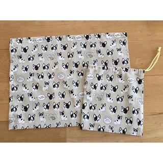 ランチョンマット 巾着 30×40 フレンチブルドッグ ハンドメイド 入園 入学(外出用品)