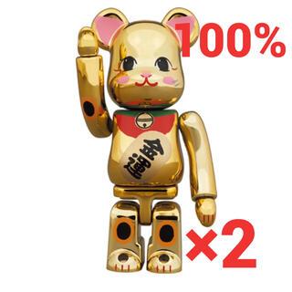 メディコムトイ(MEDICOM TOY)のBE@RBRICK 招き猫 金運 金メッキ 弐 100% 2個セット(フィギュア)