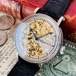 パテックフィリップ(PATEK PHILIPPE)のティファニー パテック高級腕時計★彫金 スケルトン 17石 手巻き 訳あり(腕時計(アナログ))