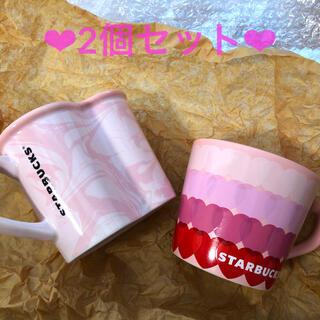 スターバックスコーヒー(Starbucks Coffee)のスターバックス バレンタイン2021マグ 2種類セット❤︎スタバ マグ ハート(食器)