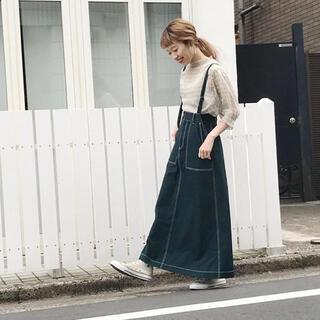 ダブルクローゼット(w closet)のw closet 緑 ロングスカート ジャンスカ デニム(ロングスカート)