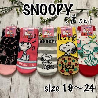 SNOOPY - ☆★  新品 SNOOPY靴下5足セット size19〜24  ★☆