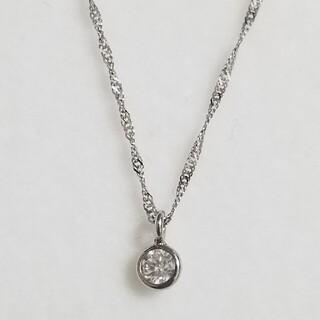 ✨新品未使用✨Pt900/K18WG【0.16ct】1粒ダイヤモンドネックレス(ネックレス)