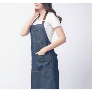 新品★即発送!デニムエプロン 4ポケット 首掛け 男女共用(その他)