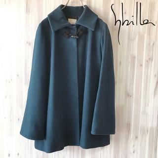 シビラ(Sybilla)のシビラ 青緑上質ウールステンカラーコートシンプルで洗礼されたデザイン◎レディース(ロングコート)