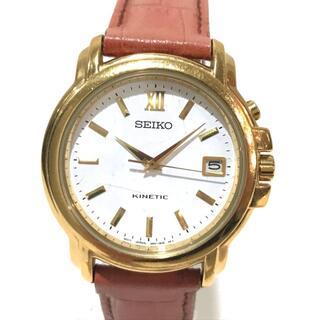 セイコー(SEIKO)のセイコー 5M62-OB20 キネティック デイト 腕時計 GP/革ベルト(腕時計(アナログ))