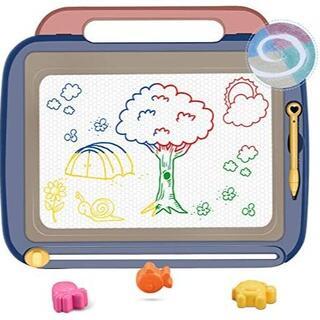 おえかきボード 大画面 3個マグネットスタンプ付属 4色知育玩具 (ブルー)(クレヨン/パステル)