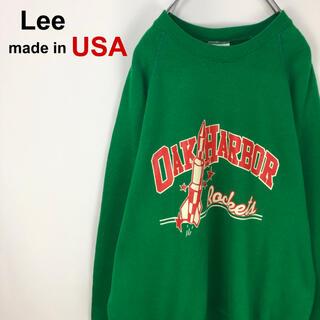 リー(Lee)の【USA製】Lee☆ビッグサイズ 緑 グリーン デカロゴ トレーナー スウェット(スウェット)