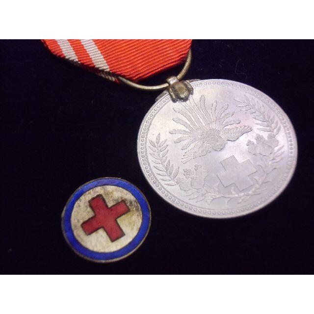 ○日本の勲章*明治二十一年/明治21年*赤十字メダル+ガラス七宝 ...