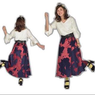 フレイアイディー(FRAY I.D)のfrayid フロッキーロングフレアースカート(ロングスカート)