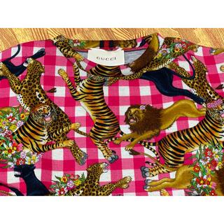 グッチ(Gucci)の●GUCCIグッチ黒豹・虎・ライオンサファリ柄ピンクスウェット6(Tシャツ/カットソー)