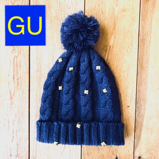 ジーユー(GU)のGU ニット帽 キャップ 冬コーデ ビジュー スタッズ付 ポンポン ボンボン(ニット帽/ビーニー)