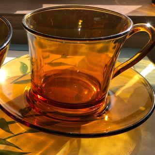 デュラレックス(DURALEX)のデュラレックス アンバーガラス カップ&ソーサー 、ボウルセット(グラス/カップ)