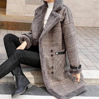 チェスターコート グレンチェック レディース ファー ブラウン 韓国ファッション(チェスターコート)