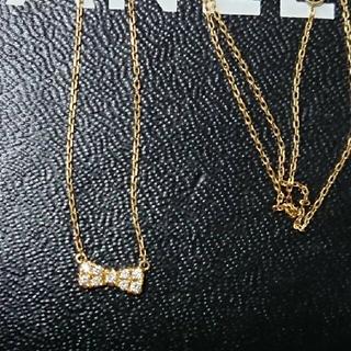 K18 ダイヤ リボン ネックレス  YG(ネックレス)