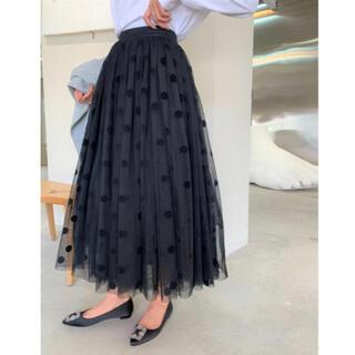 フレイアイディー(FRAY I.D)のbirthdaybash♡オーガンジーレイヤードDOTスカート【完売品】(ロングスカート)
