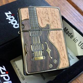 ジッポー(ZIPPO)の新品 Zippo アンティークギター 真鍮イブシ 木象嵌(タバコグッズ)