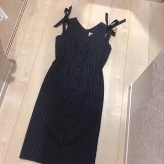 ミーアンドミークチュール(me & me couture)のDeicy 肩リボンストライプジャンスカ(ひざ丈ワンピース)