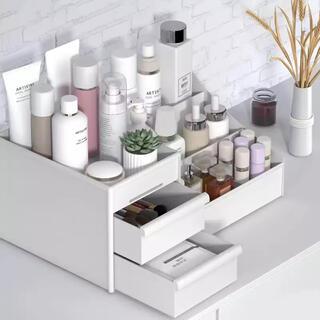 化粧品収納+シリコン靴紐ホワイト+キッチンオーガナイザーグレー(メイクボックス)