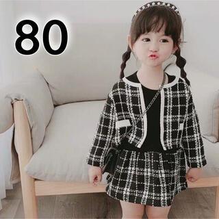 フォーマル 女の子 80 黒 ジャケット ワンピース セットアップ 入園 入学(ワンピース)