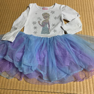 アナトユキノジョオウ(アナと雪の女王)のワンピース ドレス ラインストーン エルサ ディズニー 4歳(ワンピース)