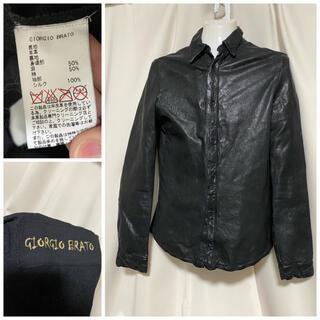ジョルジオブラット(GIORGIO BRATO)のGIORGIO BRATO ラムレザー パンチングシャツジャケット 46 M(レザージャケット)