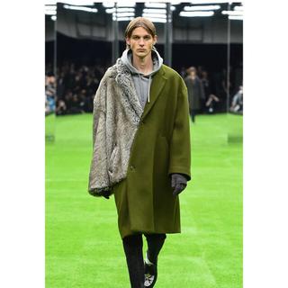 kolor - mr.gentleman 19aw fur mix coat