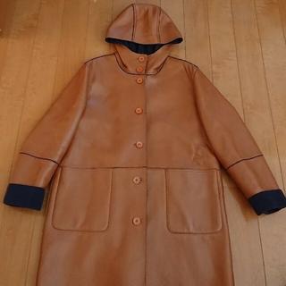 tabi レザーコート フード付き 茶色×濃紺(ロングコート)